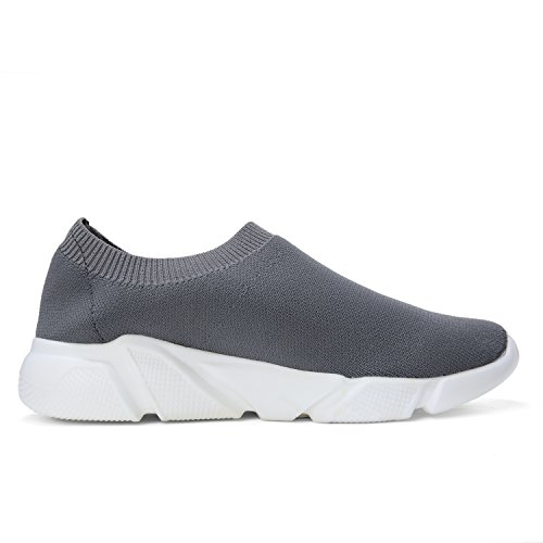 Shoes Sneakers Grey Women's Casual Breathable Shoes Sports Cut Lightweight Knitted Fashion MEILUO Vamp Walking Low 4w0HUUB