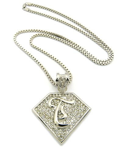 """Initial T Iced Out Rapper Pendant w/ 3mm 30"""" Box Chain Necklace, Silver Tone, XP938RBX"""