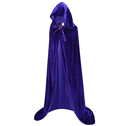OurLore Unisex Full Length Hooded Robe Cloak Long Velvet Cape Cosplay Costume 59 inch(Blue) -
