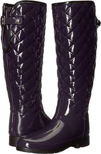 Hunter Women's Refined Gloss Quilt Tall Rain Boots Aubergine 7 M US