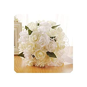 Artificial Flower Ivory Bridal Bridesmaid Flower Wedding Bouquet Artificial Flower Rose Bouquet Crystal Bridal Bouquets,White 90