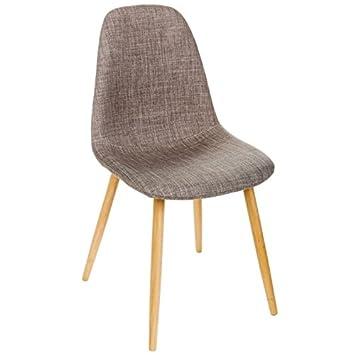 Intérieur Discount Stuhl Skandinavisches Design Leinen Füße Aus Holz  Buchenholz Nokas (L.45 Cm