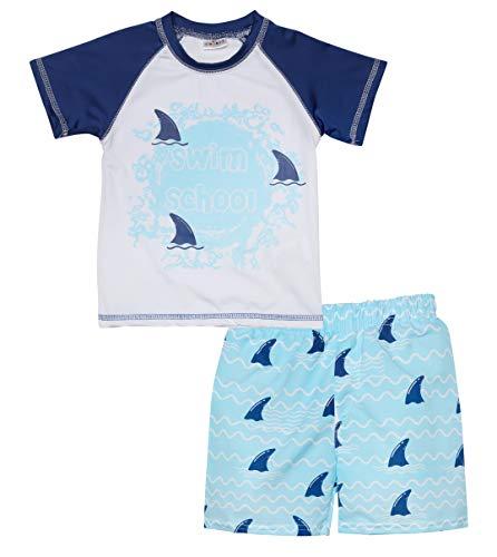 Sweet & Soft Baby Boys 2-Piece Rash Guard and Trunk Swimsuit Set, White Swim School, Size Toddler (2T)'