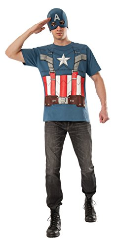 Rubie's Costume Men's Marvel Universe, Captain America: The Winter Soldier, Captain America Retro Costume T-shirt, Multicolor, Medium
