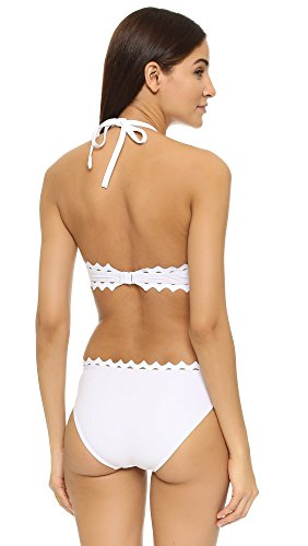 Karla Colletto Women's Rick Rack Halter Monokini, White, 8