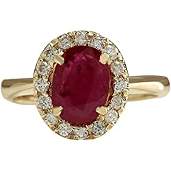 1.81Carat Natural Red Ruby And Diamond Ring 14K Solid Yellow Gold