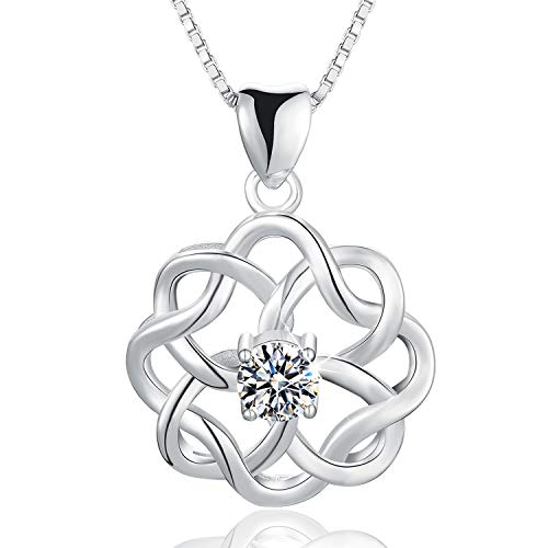 Esberry 18K Gold Plated 925 Sterling Silver CZ Simulated Diamond Vintage Celtic Knot Pendant Necklace Cubic Zirconia Pendant with Necklaces for Girls and Women (White Gold-1)
