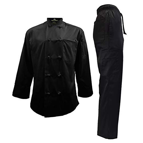 (Chef Uniform Set - Chef Coat and Pants (Large, Black Coat/Black Pants))