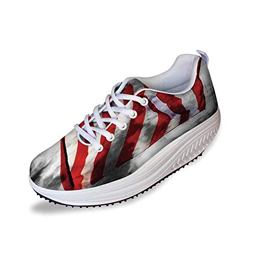American Flag Stylish Shake Shoes,Banner in The Sky on Cloudy Mist Display National Symbol Proud of Heritage for Women,10