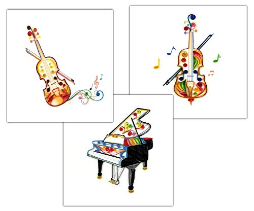 Classical Trio 3-Pack, Grand Piano, Cello, and Violin Quilling Greeting Card (3 cards total), 6x6