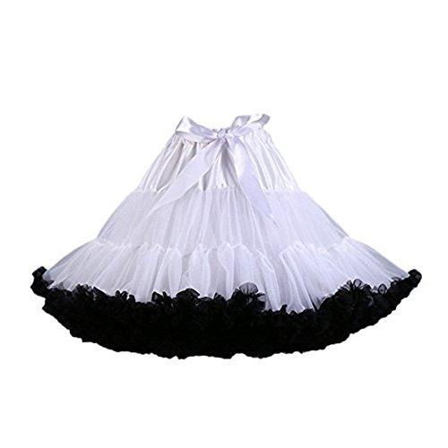 Colyanda Women's Pettiskirt 3-Layered Tutu Chiffon Petticoat Pleated Mini Skirt(White+Black)]()