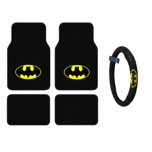 Batman Auto Accessories Interior Kit - Front & Rear Carpet Floor Mats, Steering Wheel Cover (Batman Accessories Auto)