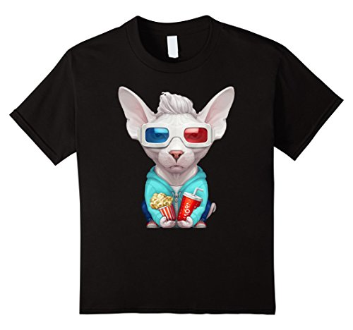 unisex-child Sphynx Cat Wearing 3D Anaglyph Glasses T-Shirt 6 Black