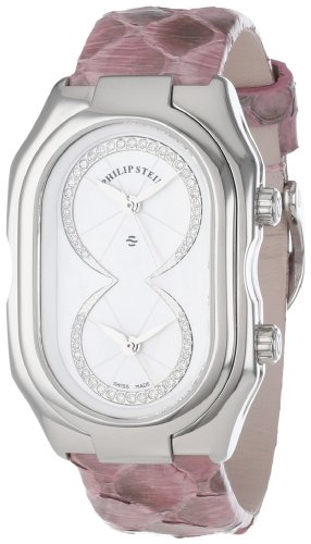 Philip Stein Women's 11-IDW-PP Prestige Diamond-Accented Stainless Steel Watch with Pink Python Snakeskin Strap