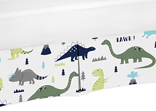 Sweet Jojo Designs Crib Bed Skirt Dust Ruffle for Blue and Green Modern Dinosaur Baby Boys or Girls Bedding Sets