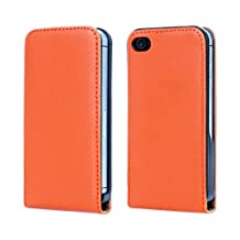 iPhone4 4S Case, iCoverCase Genuine Leather Case Up-Down Open Flip Cover for iPhone4 4S (Orange)