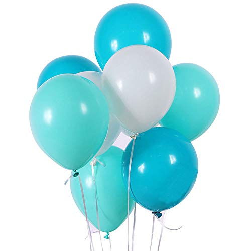 White Lake Blue Turquoise Latex Balloons,100 Count,10 Inch For Frozen Party Baby Shower Decoration