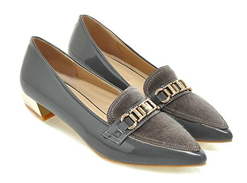 Aisun Donna Abito Formale A Punta Svasata Slip On Wear To Work Tacco Basso Pumps Shoes Grey