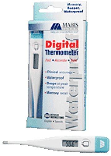 Mabis Healthcare Digital Thermometer Fahrenheit with Beeper, Waterproof, Fast 60-sec Readout, Auto shut-off (1 ()