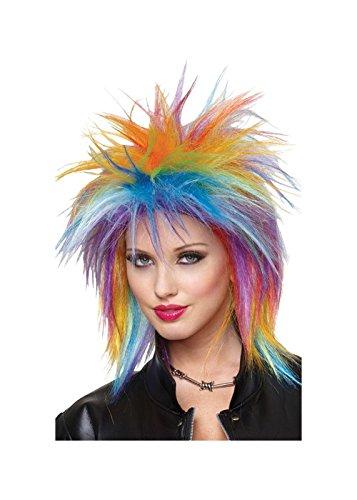 1980s Rocker Rainbow Women Wig