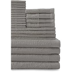 Baltic Linen Company Multi Count 100-Percent Cotton Complete 24-Piece Towel Set, Graphite Grey