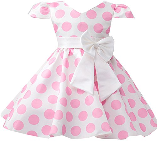 Shiny Toddler Little Girls Polka Dot Flowers Girl brithday Party Dress Pink 3T for $<!--$17.99-->