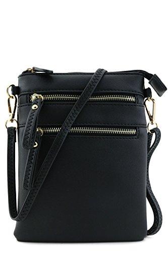 Multi Zipper Pocket Wristlet Crossbody Bag (Matte Black)