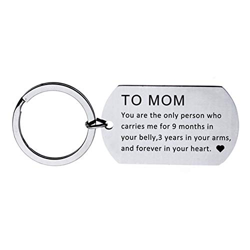 (Braceus Keychain for Mom English Letter to Mom Military Love Heart Pendant Chain Keychain Key Ring Gift 1#)
