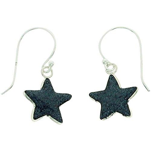 Sterling Silver Euro Hook Earrings (TOC Girls Sterling Silver Black Glittery Resin Star Drop Earrings)