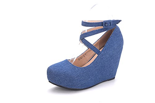 Strap High up Mila Shoes Pump 2 Bluedean Lace Lady Ankle Wedge Gigi nBxqIU