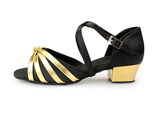 Women's Tango Black Gold Satin Strappy KBTS010A Latin Salsa Wedding Knot Sandals Miyoopark qR05UxZW