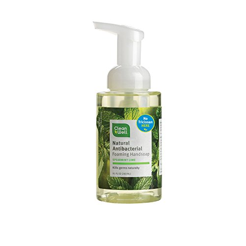 Cleanwell All Natural Anti Bacterial Foaming Hand Soap, Spearmint Lime, 9.5 Ounce Bottle (Pack of 4)