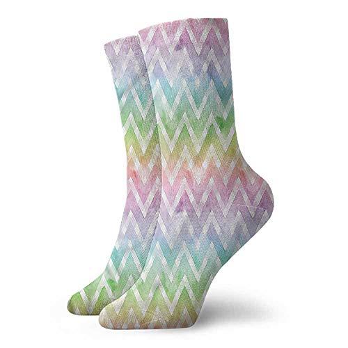 - Women Summer Cute Socks Chevron,Brush Stroke Effect Shapes 3.4