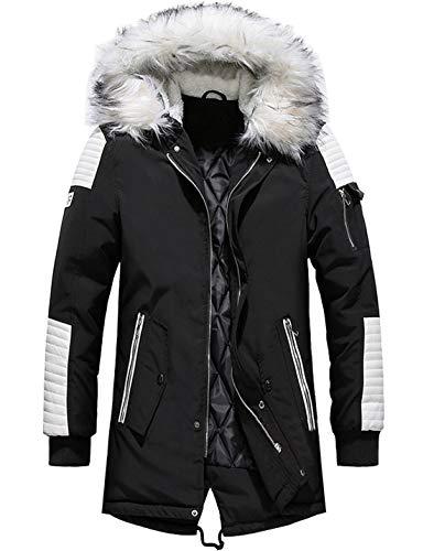 chouyatou Men's Winter Warm Faux Leather Spliced Padded Long Down Alternative Parka Coat Fur Hood (Medium, Black) (Parka Coats For Men With Fur Collar)