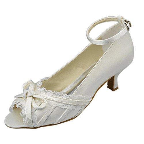 Kevin Fashion mz1229señoras correa de tobillo satén novia boda formal fiesta noche Prom sandalias blanco