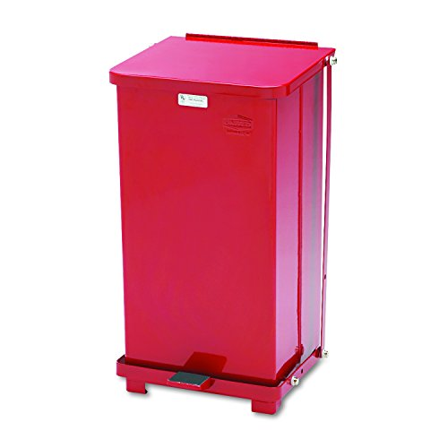Rubbermaid Commercial ST12EPLRD Defenders Biohazard Step Can, Square, Steel, 12gal, (12 Gallon Square)