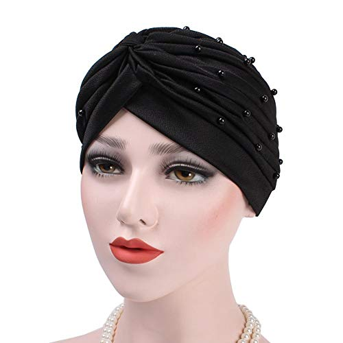 (Women Girl Chemo Head Cap Concise Beaded Turban Ruched Soft Covering Hat Scarf for Hair Loss)