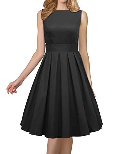 iLover Women's 1950s Style Rockabilly Swing Vintage Dresses Party Dress (Black, Medium)