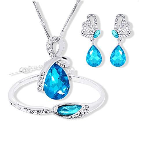 Wholesale Austrian Crystal Jewelry Sets Water Drop Pendant Necklace Stud Earring Bracelet Silver Plated Jewellery Women navy blue