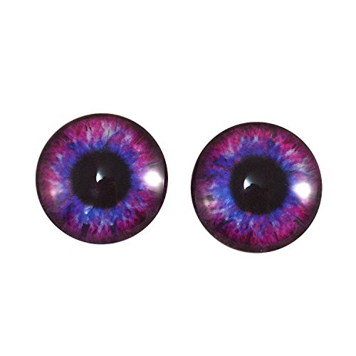 Victorian Cobalt Glass (20mm Pair of Pink and Blue Steampunk Glass Eyes, for Jewelry Making, Art Dolls, Sculptures, and More)