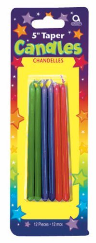 Striped Taper Candles (Multicolored Striped Taper Candles Party Accessory)