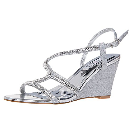 SheSole Women's Rhinestone Wedge Sandals Summer Wedding Shoes Silver US 10 by SheSole
