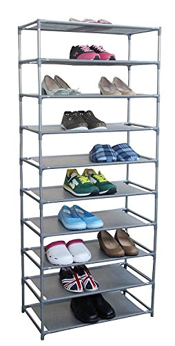 Shoe Rack,10-Tier Shoe Organizer Storage Shelves Easy Assembled Stackable Non-woven Fabric Shoe Tower (TYPE A) - Hanger Style Double Sided Floor