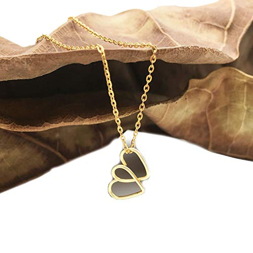 Double Heart Shape Necklaces Jewelry Simple Line Pendant Dainty Choker Chain Jewelry for Women,925 Sterling Silver,17.7inch