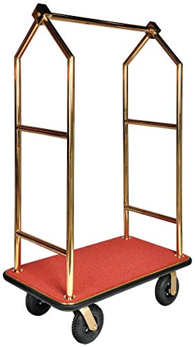 (72' Steel Bellmans Cart with Red Carpet and Brasstone Finish)