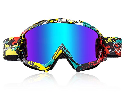 Basecamp Ski Goggles, Snow Snowboard Skiing Goggles Dust UV Dustproof Scratch-Resistant Bendable Windproof Eyewear for Men Women Skiing Snowboarding Motorcycle Cycling Snowmobile Winter Sports (Red)