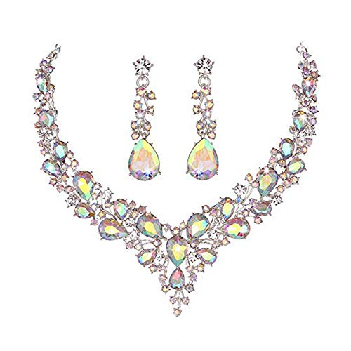 Cluster Jewelry - Ruoling Women's Wedding Bridal Crystal Teardrop Cluster Statement Necklace Dangle Earrings Jewelry Set