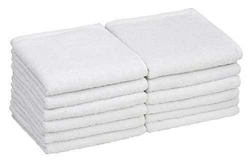 Home and Plan Quick Dry Premium 100% Turkish Cotton Wash Cloths | 12-Piece Set, Multi-Purpose Face & Fingertip Cloths (12x12) - White (S14)