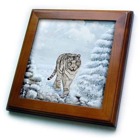 (3dRose Heike Köhnen Design Animal - Wonderful white tiger in a winter landscape - 8x8 Framed Tile (ft_289145_1))