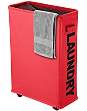 IHOMAGIC Rolling Slim Laundry Hamper on Wheels Clothes Basket Tall Thin Dirty Clothes Bin Storage Basket Organizer Sorter